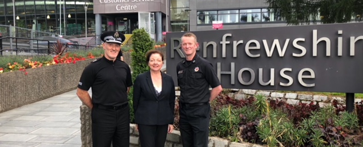 Chief Superintendent Gordon Crossan, Councillor Marie McGurk and Scottish Fire and Rescue Area Manager, Graeme Binning
