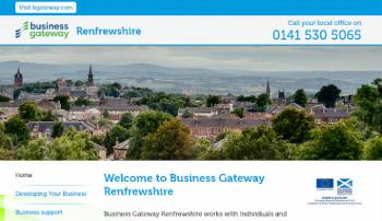 Screenshot of Business Gateway Renfrewshire website homepage