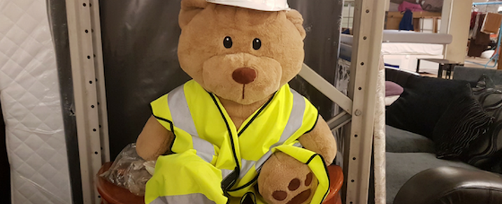 Big Teddy helps out behind the scenes at RAMH Re-use Superstore in Johnstone.