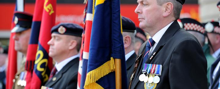 Royal British Legion veterans with standards