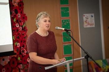 Riverbrae School Headteacher, Catherine Gilius, speaking at the school's first birthday party
