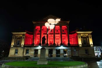 Paisley Town Hall in Red