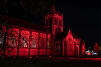 Paisley Abbey in red
