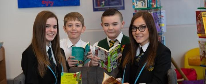 Photo shows (l-r): Melanie Mahoney (S4, Linwood HS), Matthew Du Pon (P7, Cochrane Castle Primary School); Ben Cunningham (P7, St David's Primary School) and Beth Compston (S5, Linwood HS)