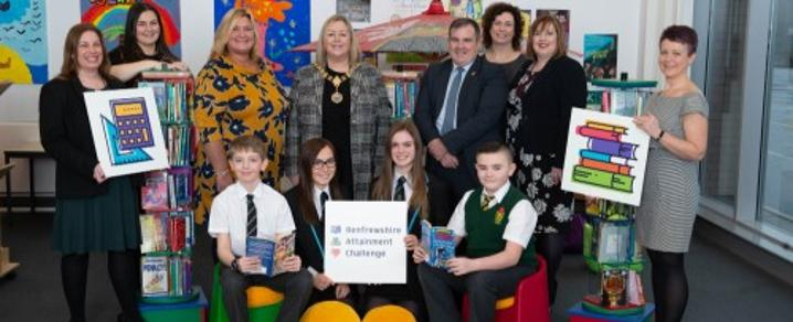 Photo shows front row (l-r): Matthew Du Pon (P7, Cochrane Castle Primary School); Beth Compston (S5, Linwood HS); Melanie Mahoney (S4, Linwood HS) and Ben Cunningham (P7, St David's Primary School)  Back row (l-r): Pam McDowall (Headteacher, Cochrane Cast