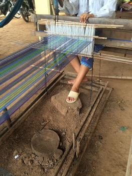 World Fair Trade Tartan on loom in Cambodia