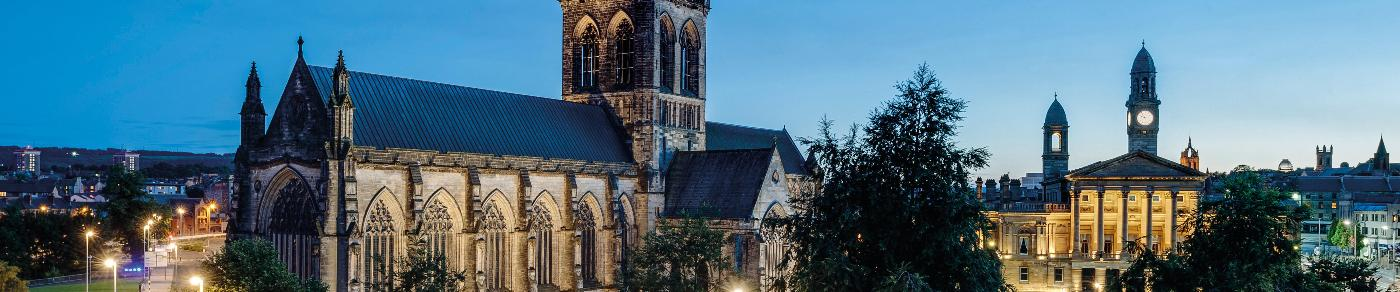 Paisley Abbey and Paisley Town Hall