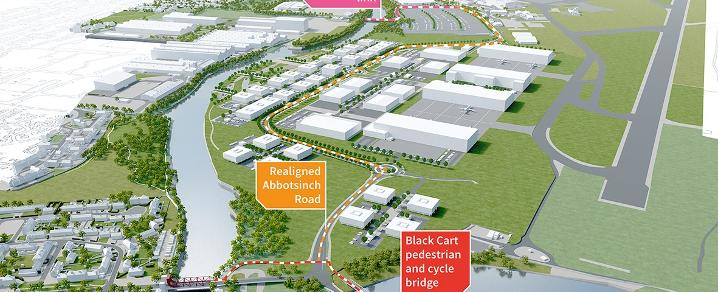 An overview illustration of the connections being built through the Glasgow Airport Investment Area project
