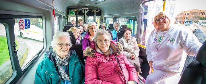 Sally Logan with sheltered housing residents on the SOOPIR bus