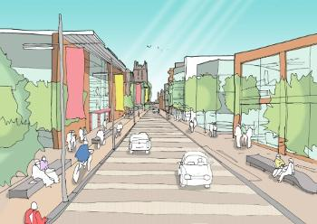 An artist impression of Abercorn Street commercial area