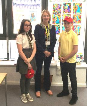St Fergus Primary School Head Boy and Head Girl, Parker and Neve, with Dr Susan Scurlock M.B.E, founder and CEO of Primary Engineers