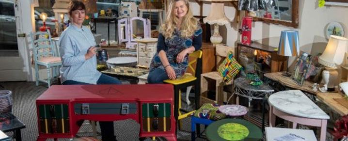 Upcycling Creative Hub owners Angela Poultney and Anna Piasecka